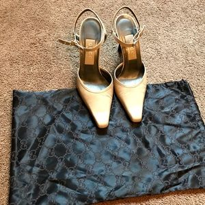GUCCI TAN LEATHER SLINGBACK W/ BUCKLE SIZE 36.5